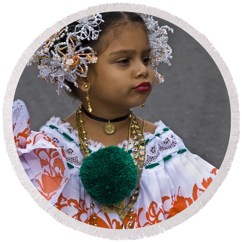 Round Beach Towel featuring the photograph National Costume Of Panama by Heiko Koehrer-Wagner