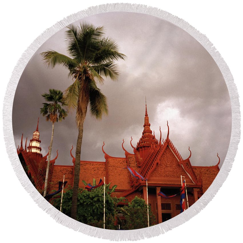 Khmer Round Beach Towel featuring the photograph National Museum Of Cambodia by Shaun Higson