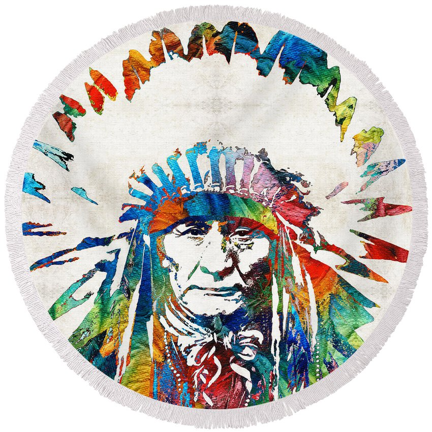 Native American Round Beach Towel featuring the painting Native American Art - Chief - By Sharon Cummings by Sharon Cummings