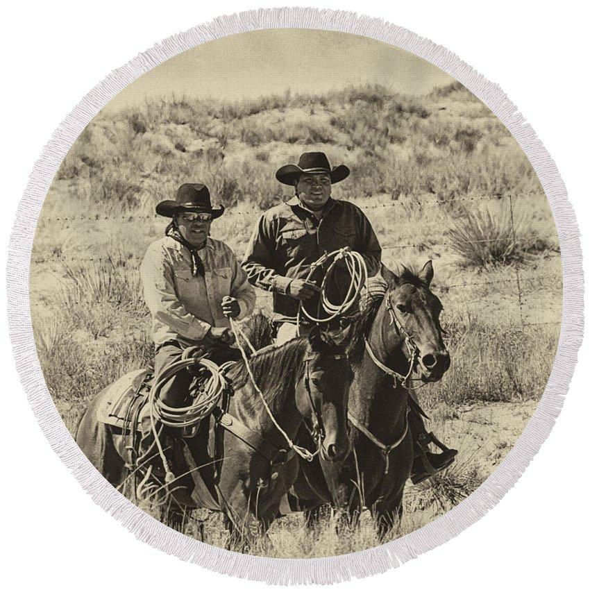 Native American Cowboys Round Beach Towel featuring the photograph Native American Cowboys by Priscilla Burgers