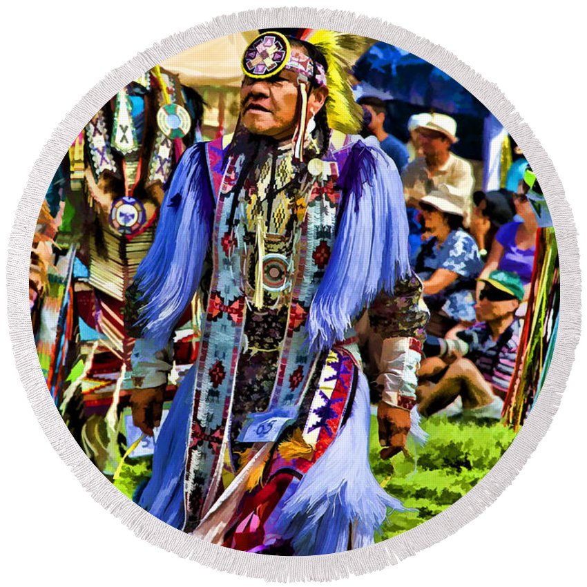 Native American Round Beach Towel featuring the photograph Native American Elder by Eleanor Abramson
