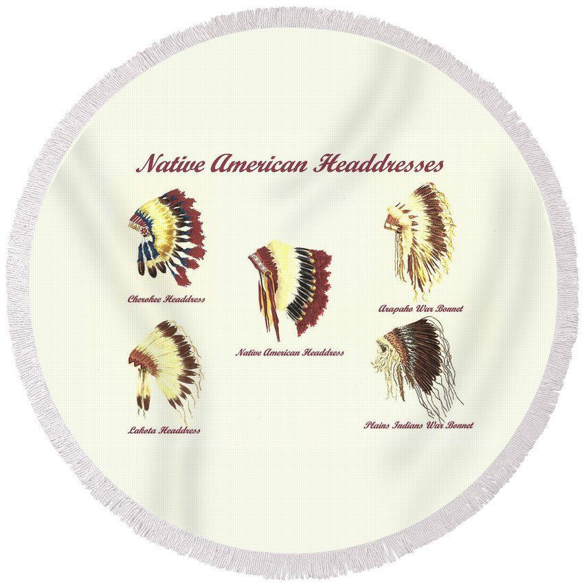 Native American Round Beach Towel featuring the painting Native American Headdresses Number 4 by Michael Vigliotti