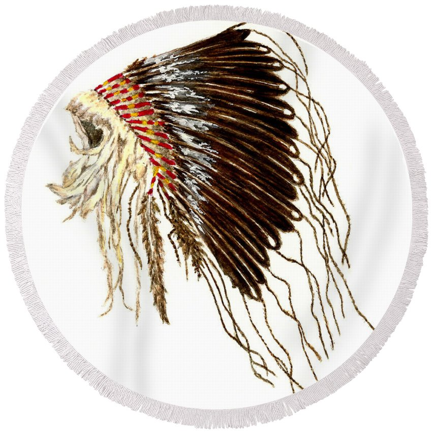 Native American Round Beach Towel featuring the painting Native American War Bonnet - Plains Indians by Michael Vigliotti