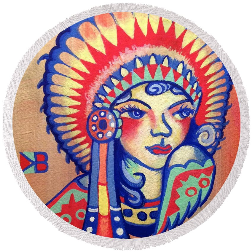 Native Round Beach Towel featuring the painting Native Girl by Britt Kuechenmeister