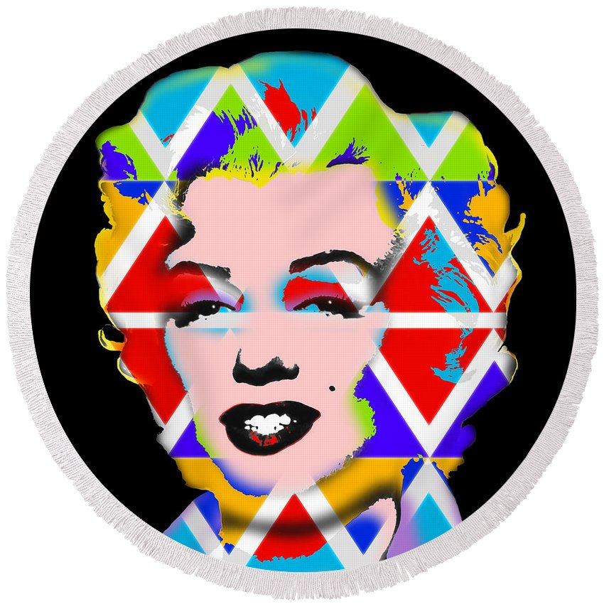 Pop Art Round Beach Towel featuring the digital art Native Icon by Charles Stuart