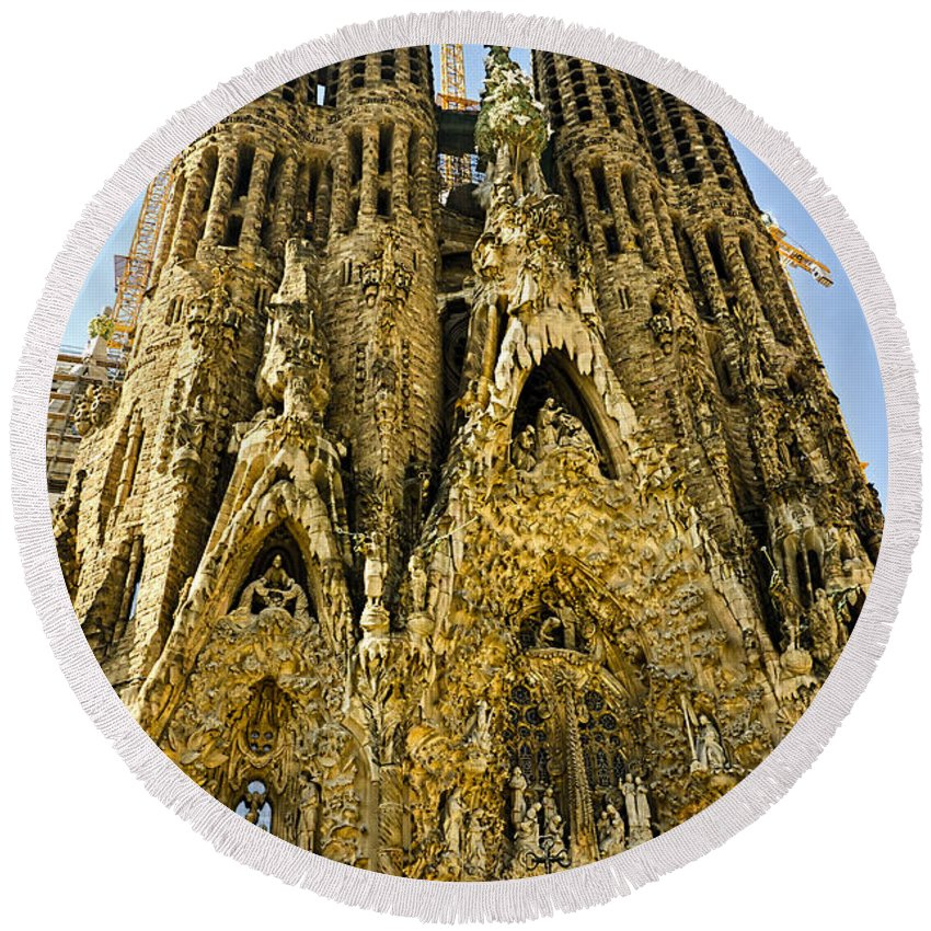 Sagrada Familia Round Beach Towel featuring the photograph Nativity Facade - Sagrada Familia by Jon Berghoff