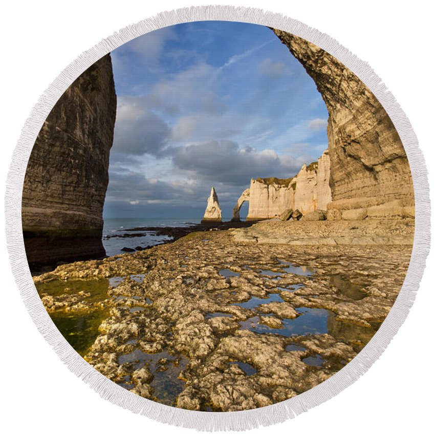 Arch Round Beach Towel featuring the photograph Natural Arches by Mircea Costina Photography