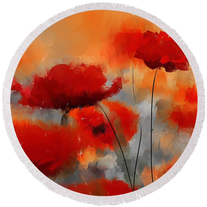 Poppies Round Beach Towel featuring the painting Natural Enigma by Lourry Legarde