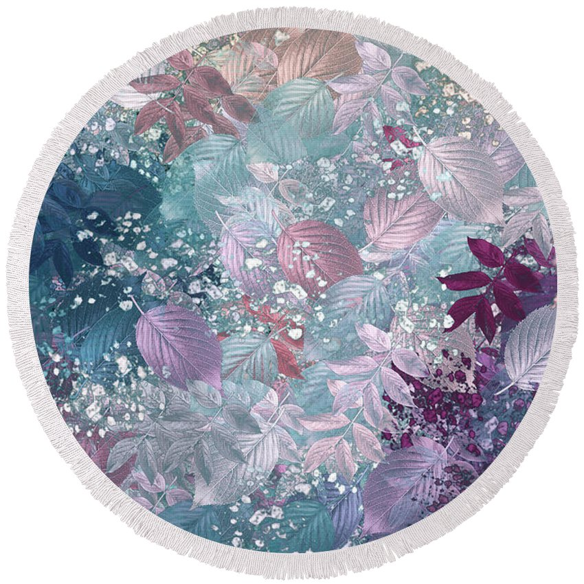 Abstract Digital Art Round Beach Towel featuring the digital art Naturaleaves - S1002b by Variance Collections