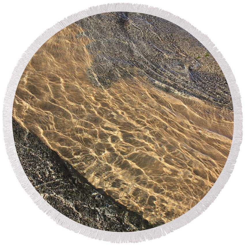 Lake Tahoe Round Beach Towel featuring the photograph Nature Abstract - Clear Lake Tahoe Water by Carol Groenen