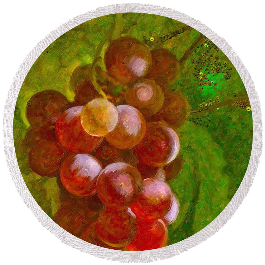 Grapes Round Beach Towel featuring the painting Nature Goodness Grapes On The Vine by Angela Stanton