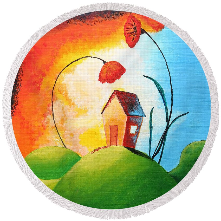 Apartment Round Beach Towel featuring the painting Nature Spills Colour On My House by Nirdesha Munasinghe