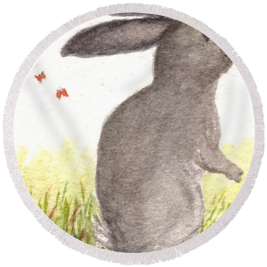 Nature Round Beach Towel featuring the painting Nature Wild Rabbit by Tis Art