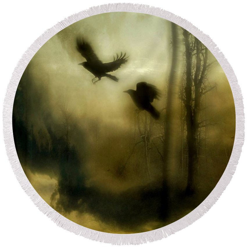 Crows Round Beach Towel featuring the mixed media Nature's Blur by Gothicrow Images