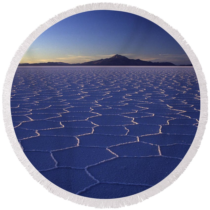Salar De Uyuni Round Beach Towel featuring the photograph Natures Geometry Salar De Uyuni by James Brunker