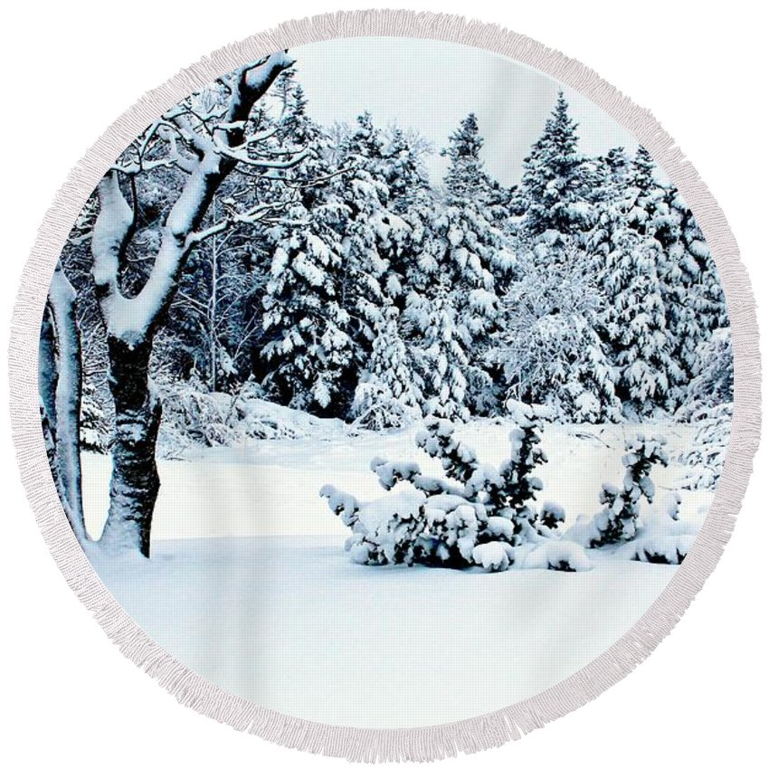 Natures Handiwork Round Beach Towel featuring the photograph Natures Handywork - Snow Storm - Snow - Trees 2 by Barbara Griffin
