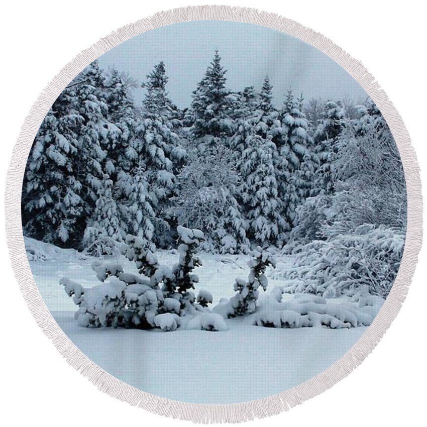 Natures Handiwork Round Beach Towel featuring the photograph Natures Handywork - Snowstorm - Snow - Trees by Barbara Griffin