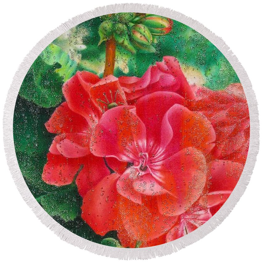 Color Pencil Round Beach Towel featuring the painting Nature's Jewels by Pamela Clements