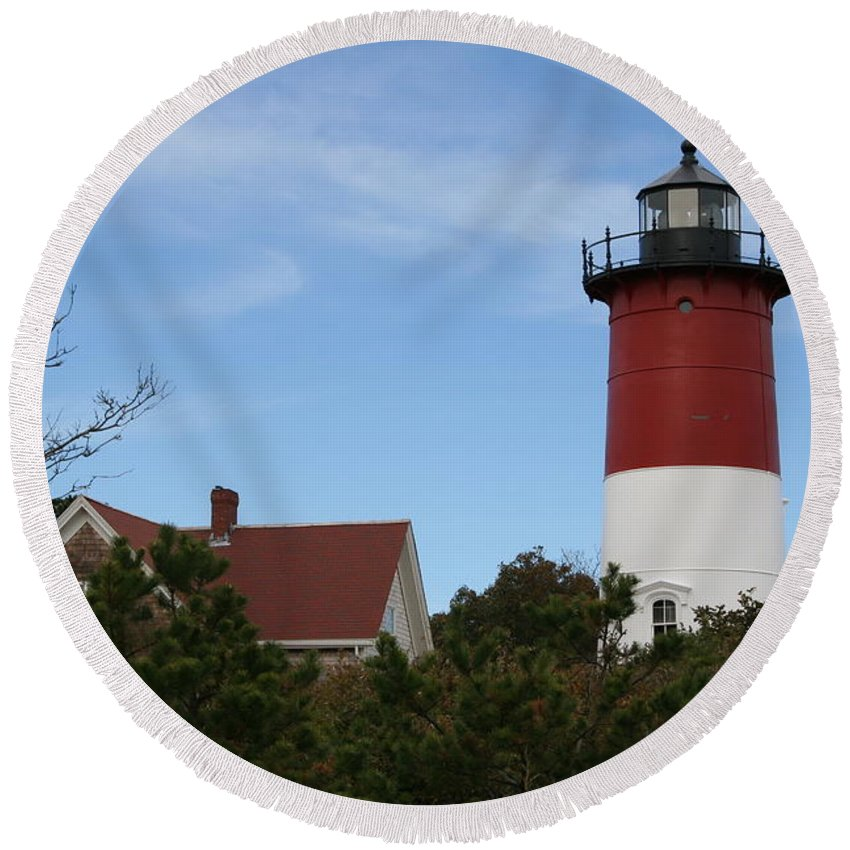 Lighthouse Round Beach Towel featuring the photograph Nauset Beach Light by Christiane Schulze Art And Photography