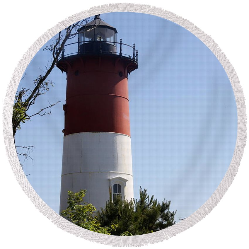 Nauset Lighthouse Round Beach Towel featuring the photograph Nauset Light - Cape Cod - Ma by Christiane Schulze Art And Photography