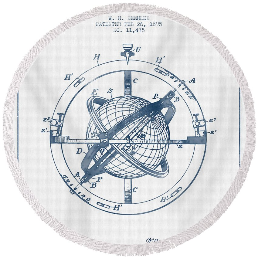Compass Round Beach Towel featuring the digital art Nautical Observation Apparatus Patent From 1895 - Blue Ink by Aged Pixel