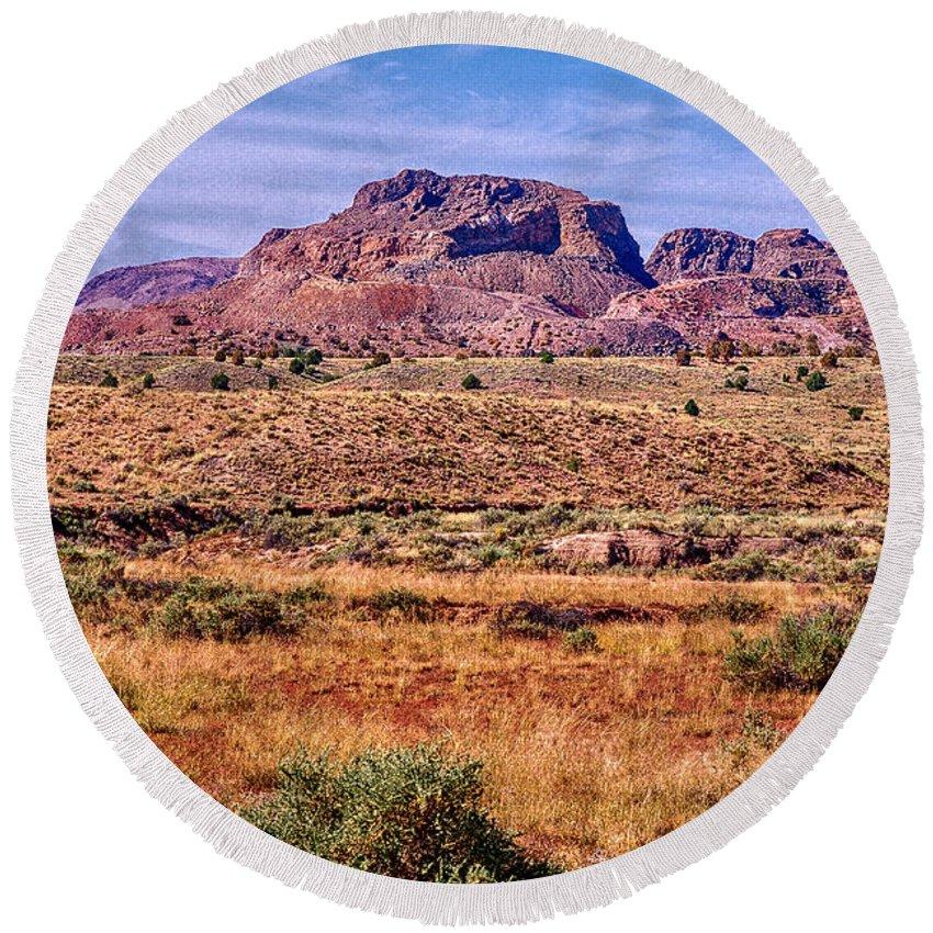 Arizona Round Beach Towel featuring the digital art Navajo Nation Series 2 by Bob and Nadine Johnston