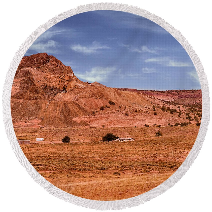 Anasazi Round Beach Towel featuring the photograph Navajo Nation Series Along Arizona Highways by Bob and Nadine Johnston