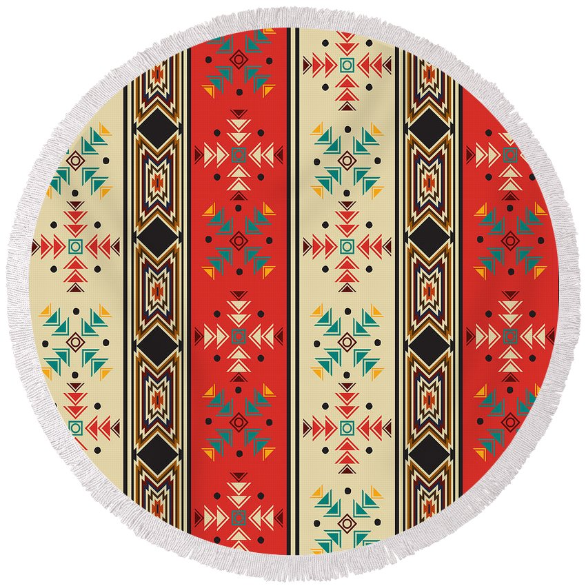 Pattern Round Beach Towel featuring the digital art Navajo Style Pattern by Richard Laschon