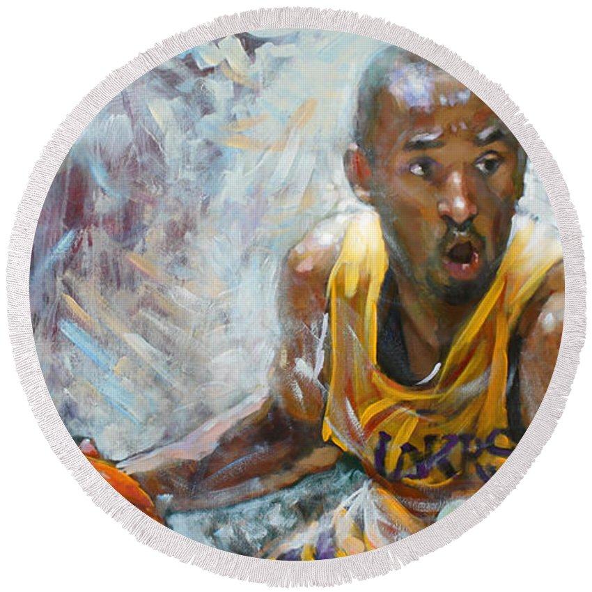 Lakers Round Beach Towel featuring the painting Nba Lakers Kobe Black Mamba by Ylli Haruni