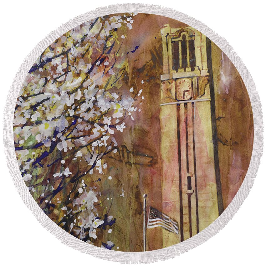 Art Prints Round Beach Towel featuring the painting Ncsu Bell Tower by Ryan Fox