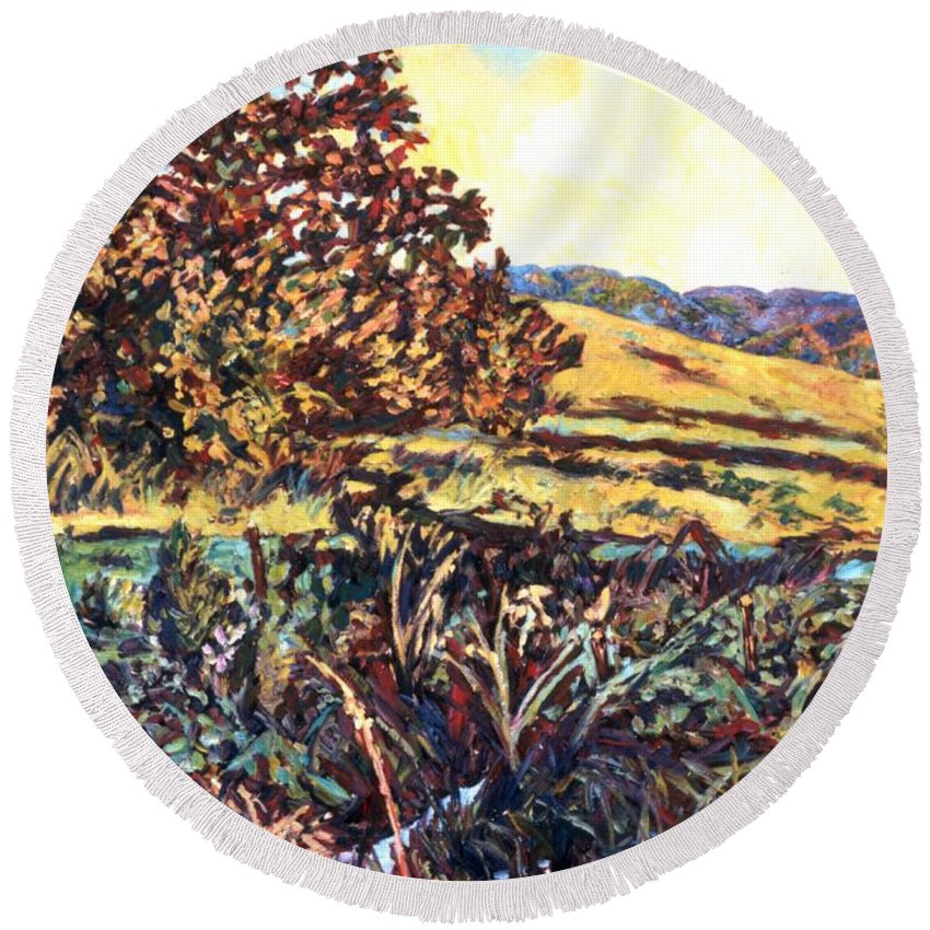 Landscape Round Beach Towel featuring the painting Near Childress by Kendall Kessler