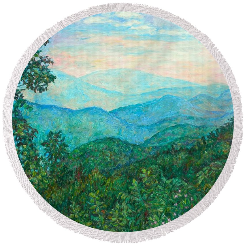 Landscape Round Beach Towel featuring the painting Near Purgatory by Kendall Kessler