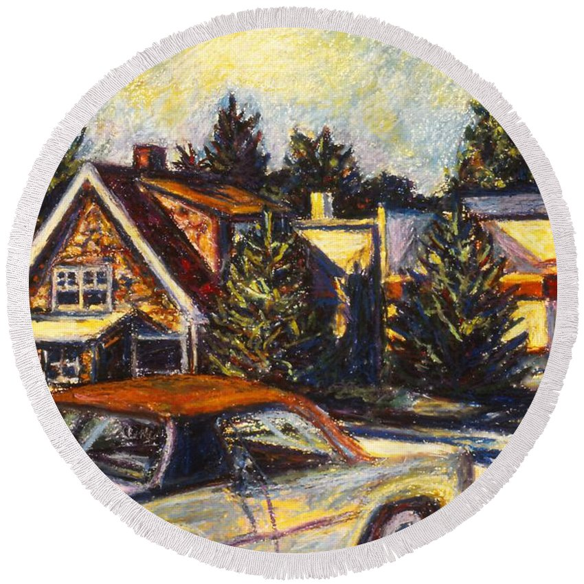 Town Paintings Round Beach Towel featuring the painting Near Reeds by Kendall Kessler