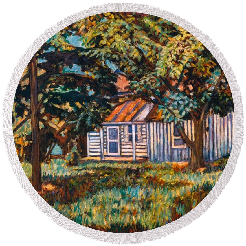 Architecture Round Beach Towel featuring the painting Near The Tech Duck Pond by Kendall Kessler