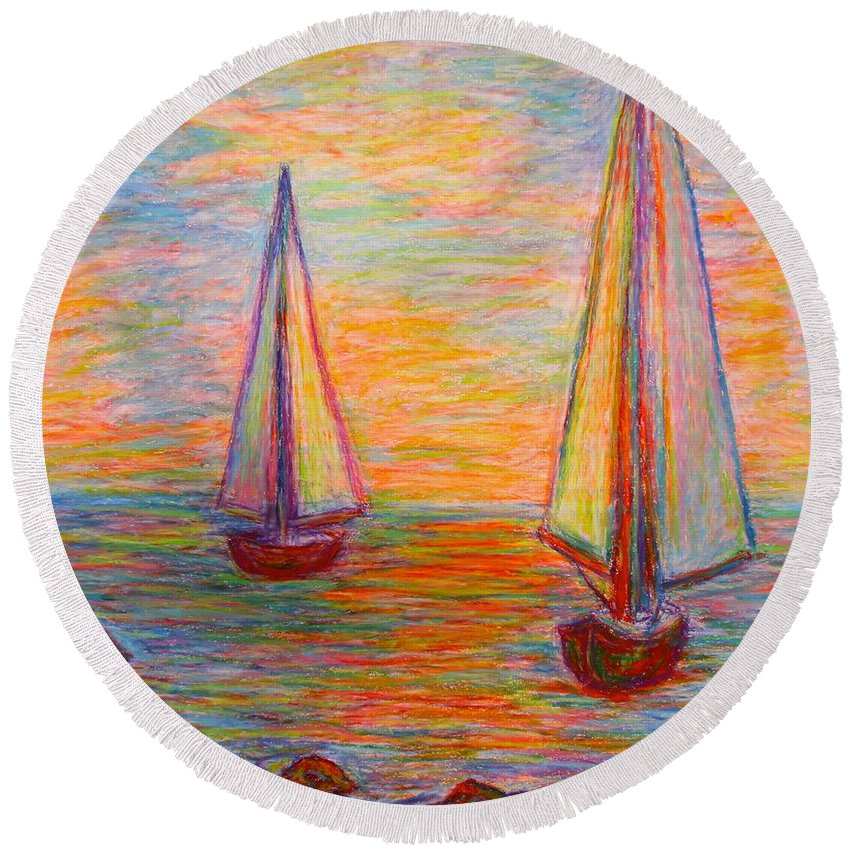 Boats Round Beach Towel featuring the painting Nearing The Shoals by Kendall Kessler