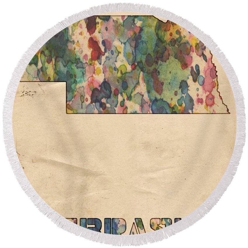 Nebraska Round Beach Towel featuring the painting Nebraska Map Vintage Watercolor by Florian Rodarte
