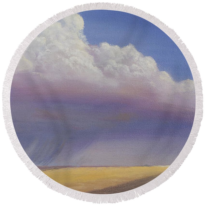 Landscape Round Beach Towel featuring the painting Nebraska Vista by Jerry McElroy