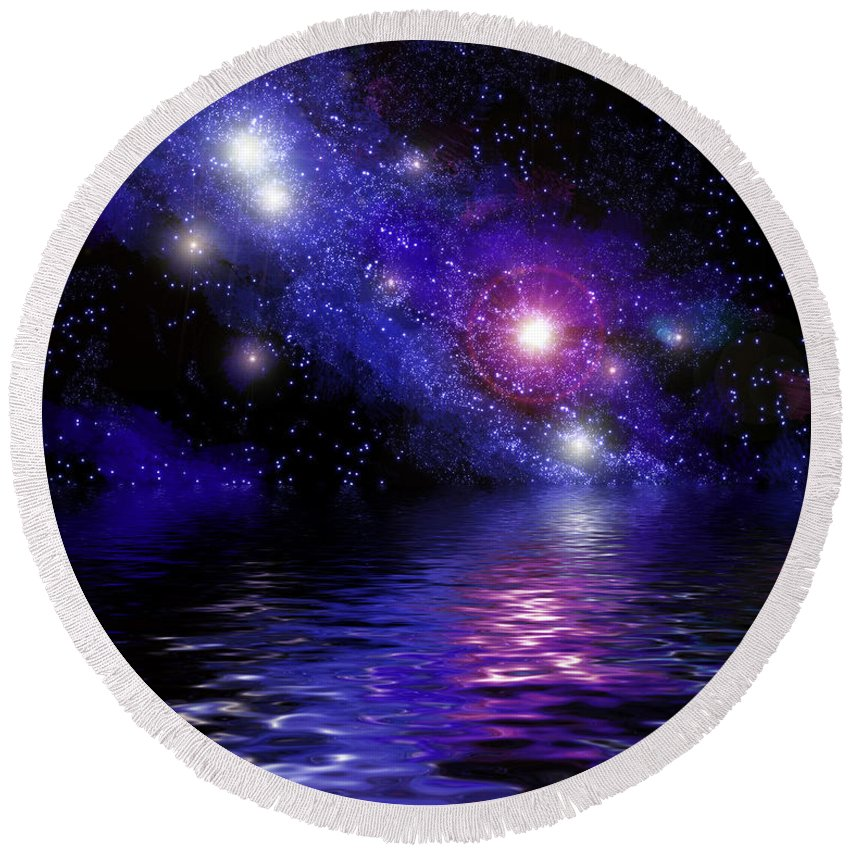 Nebula Round Beach Towel featuring the digital art Nebula Reflection by Antony McAulay