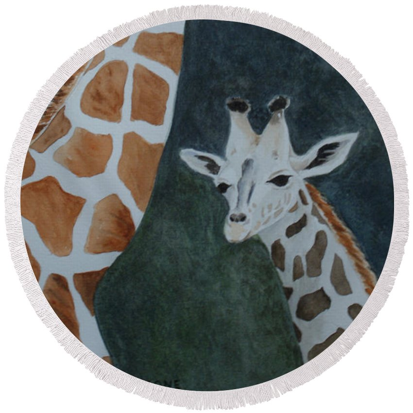 Zoo Round Beach Towel featuring the painting Neck And Neck by Jill Ciccone Pike