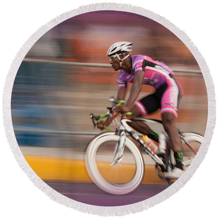 Bicycle Round Beach Towel featuring the photograph Need For Speed by Michael Porchik