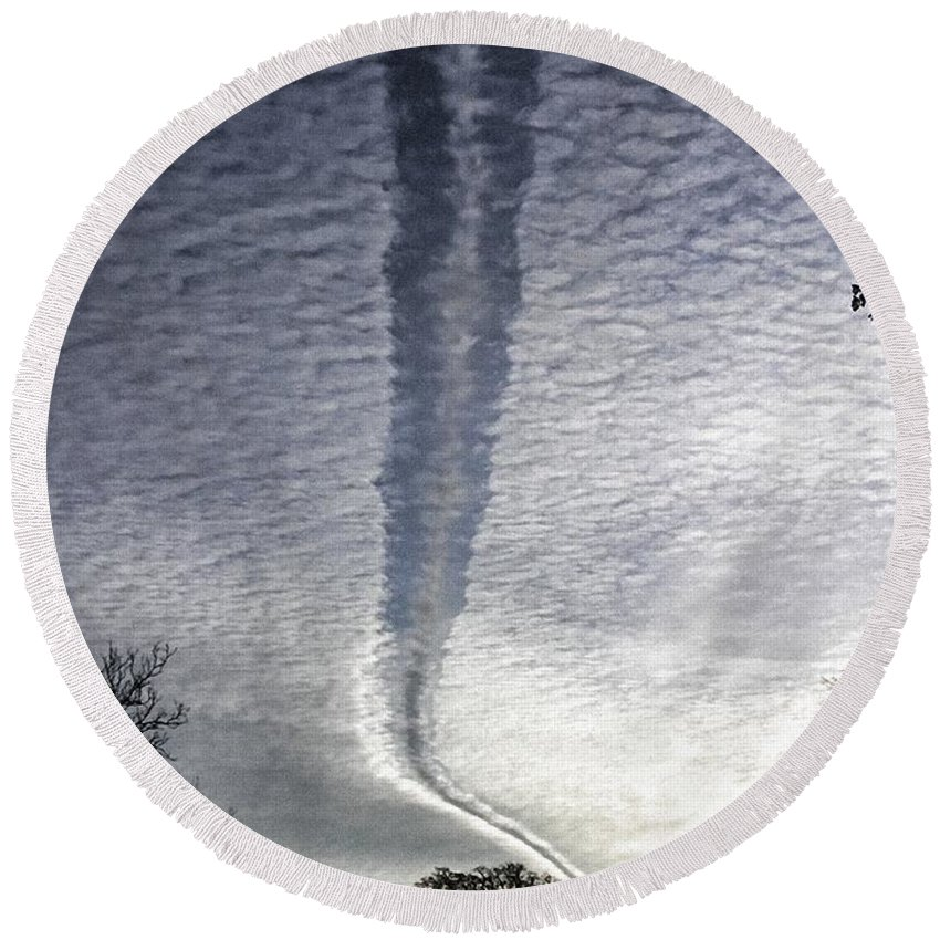 Clouds Round Beach Towel featuring the photograph Negative Contrail by Shannon Story