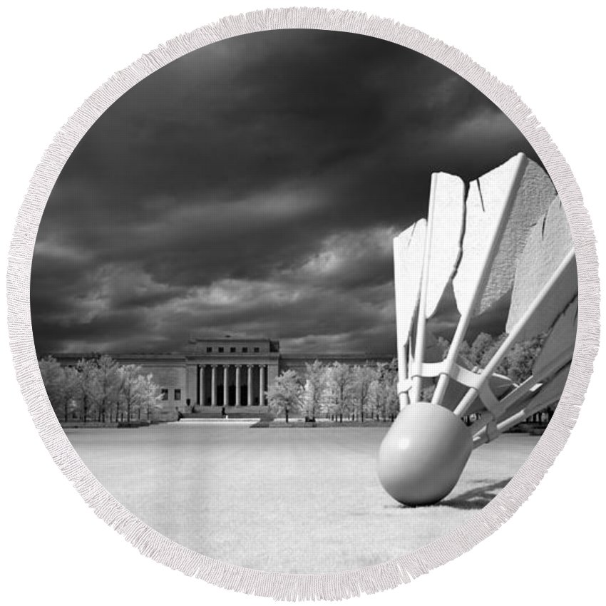 Nelson Atkins Art Museum Round Beach Towel featuring the photograph Nelson Akins Art Museum In Infrared by Mountain Dreams