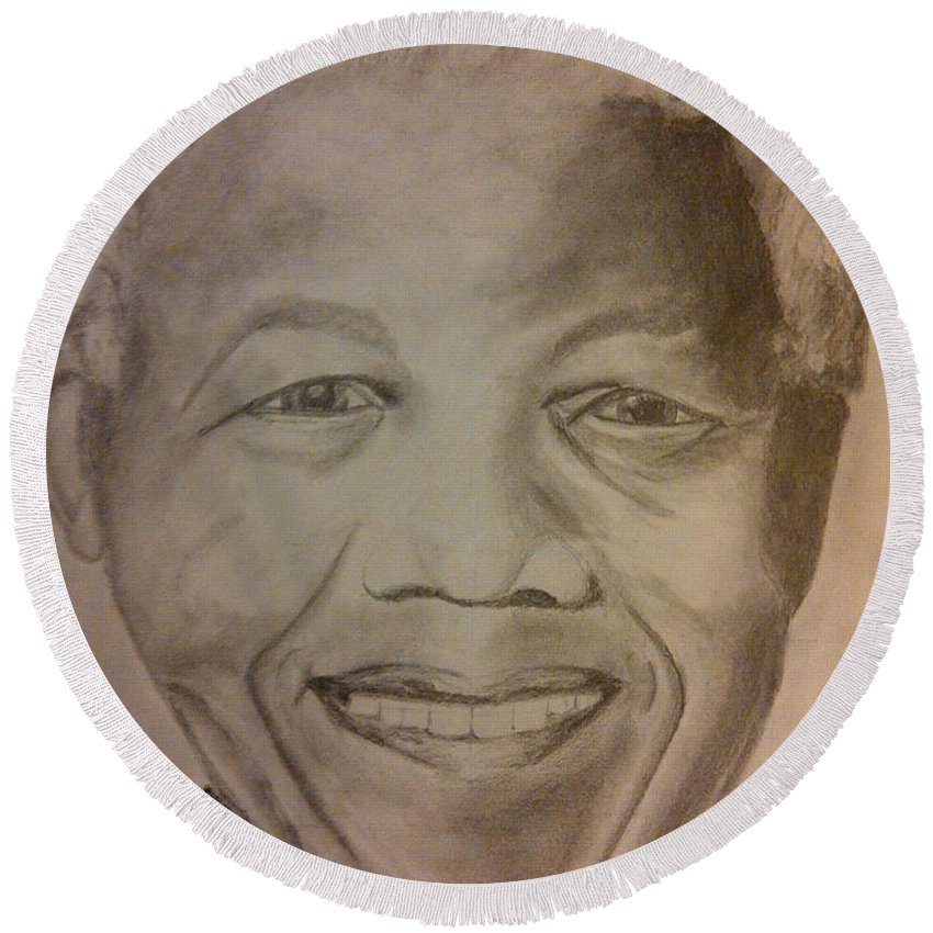 President Of South Africa Round Beach Towel featuring the painting Nelson Mandela by Irving Starr
