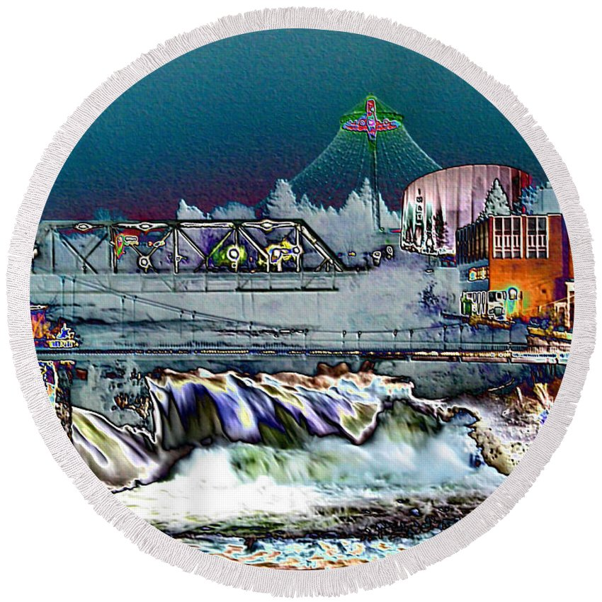 Unique Cityscape Round Beach Towel featuring the photograph Neon Lights Of Spokane Falls by Carol Groenen