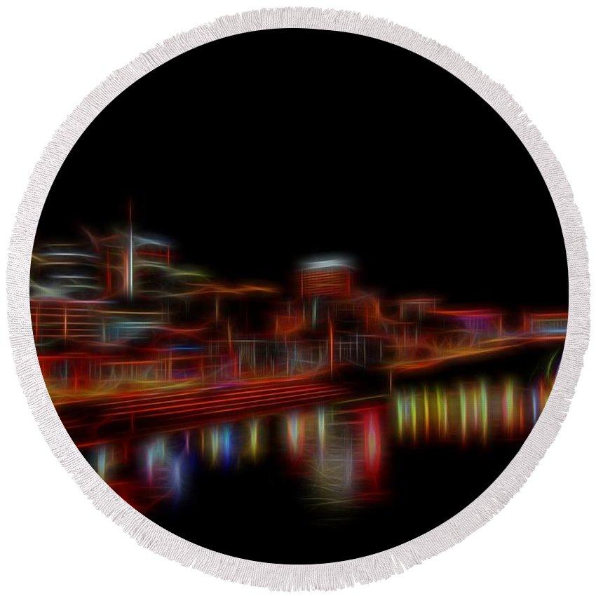Neon Nashville Skyline At Night Round Beach Towel featuring the digital art Neon Nashville Skyline At Night by Dan Sproul
