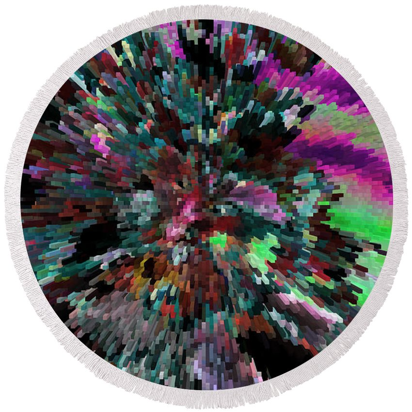 Abstract Art Round Beach Towel featuring the photograph Neon Night by Sylvia Thornton
