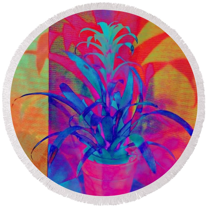 Sharkcrossing Round Beach Towel featuring the digital art Neon Pineapple Plant - Vertical by Lyn Voytershark