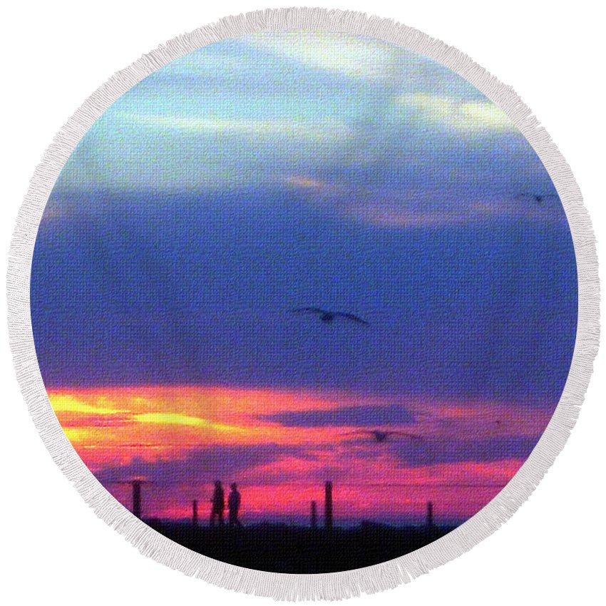 Sunset Round Beach Towel featuring the photograph Neon Sunset by Aimee L Maher ALM GALLERY