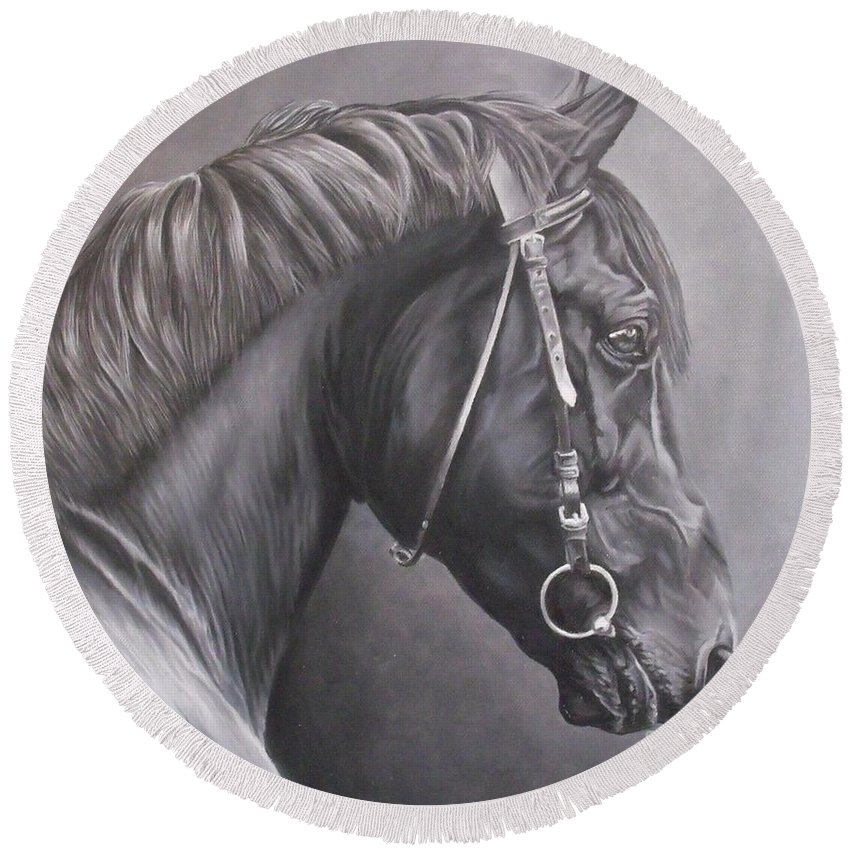 Horse Round Beach Towel featuring the painting Nero 2 by Pauline Sharp