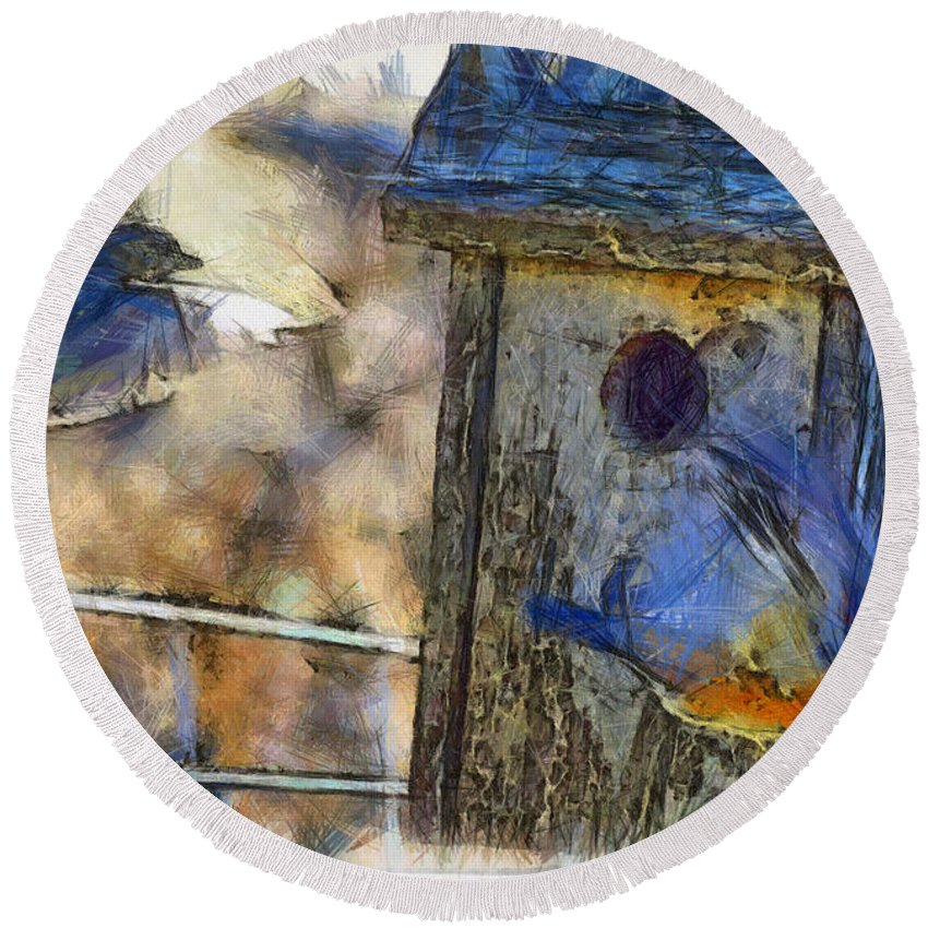Eastern Bluebird Round Beach Towel featuring the photograph Nest Building Time by Shannon Story